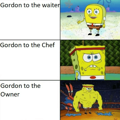 Chef: Gordon to the waiter  Gordon to the Chef  Gordon to the  Owner  |30