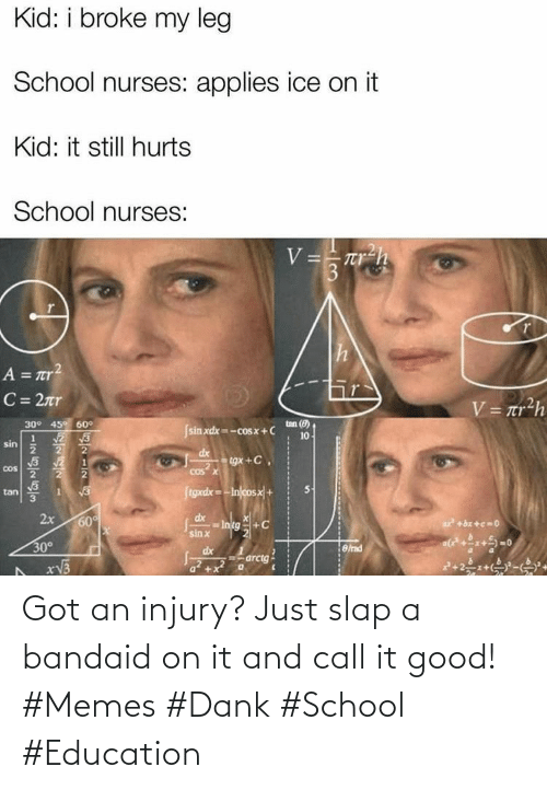 bandaid: Got an injury? Just slap a bandaid on it and call it good! #Memes #Dank #School #Education