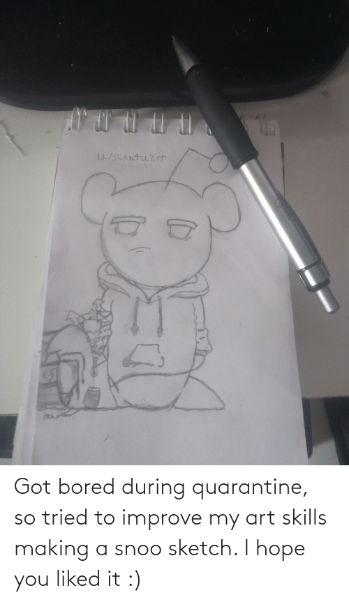 snoo: Got bored during quarantine, so tried to improve my art skills making a snoo sketch. I hope you liked it :)