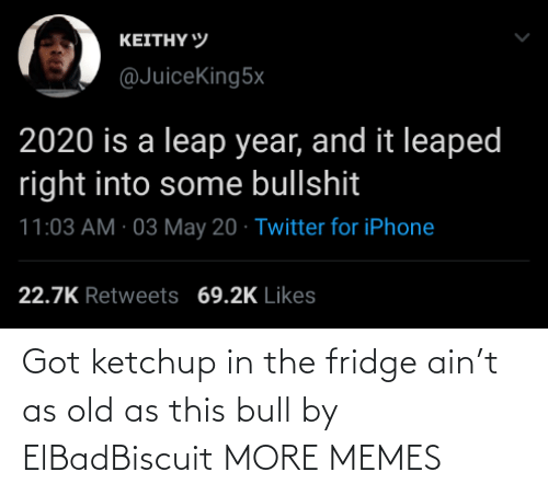 fridge: Got ketchup in the fridge ain't as old as this bull by ElBadBiscuit MORE MEMES