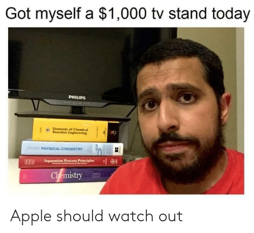 Watch Out: Got myself a $1,000 tv stand today  PHILIPS  Elements of Chemical  Reaction Engineering  ATN PHYSICAL CHEMISTRY  Separation Precess Principles  HH  Chemistry Apple should watch out