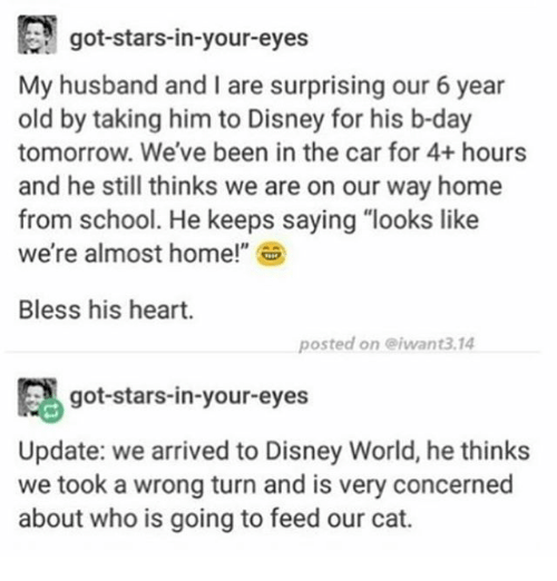 """Bless His Heart: got-stars-in-your-eyes  My husband and I are surprising our 6 year  old by taking to Disney for his b-day  tomorrow. We've been in the car for 4+ hours  and he still thinks we are on our way home  from school. He keeps saying """"looks like  we're almost home!""""  Bless his heart.  posted on eiwant3.14  ca got-stars-in-your-eyes  Update: we arrived to Disney World, he thinks  we took a wrong turn and is very concerned  about who is going to feed our cat."""