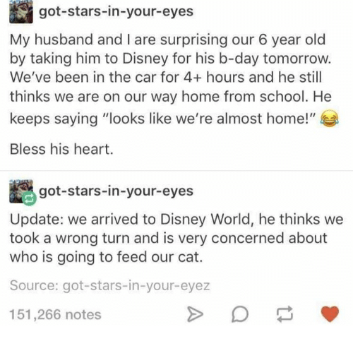 """Bless His Heart: got-stars-in-your-eyes  My husband and I are surprising our 6 year old  by taking him to Disney for his b-day tomorrow.  We've been in the car for 4+ hours and he still  thinks we are on our way home from school. He  keeps saying """"looks like we're almost home!""""  Bless his heart.  Agot-stars-in-your-eyes  Update: we arrived to Disney World, he thinks we  took a wrong turn and is very concerned about  who is going to feed our cat.  Source: got-stars-in-your-eyez  151,266 notes"""