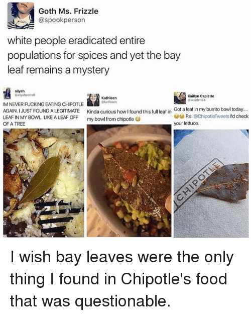 Funny, Goths, and Leaf: Goth Ms. Frizzle  aspookperson  white people eradicated entire  populations for spices and yet the bay  leaf remains a mystery  aliyah  Daliyahpotts8  Kaitlyn Caplette  Kathleen  kcaplotte4  kxthleen  IM NEVER FUCKING EATING CHIPOTLE  AGAIN. I JUST FOUND A LEGITIMATE Kinda curious how I found this full leaf in  Got a leaf in my burrito bowl today.  P.s. @ChipotleTweets d check  LEAF IN MY BOWL. LIKE A LEAF OFF  my bowl from chipotle  OF A TREE  your lettuce I wish bay leaves were the only thing I found in Chipotle's food that was questionable.