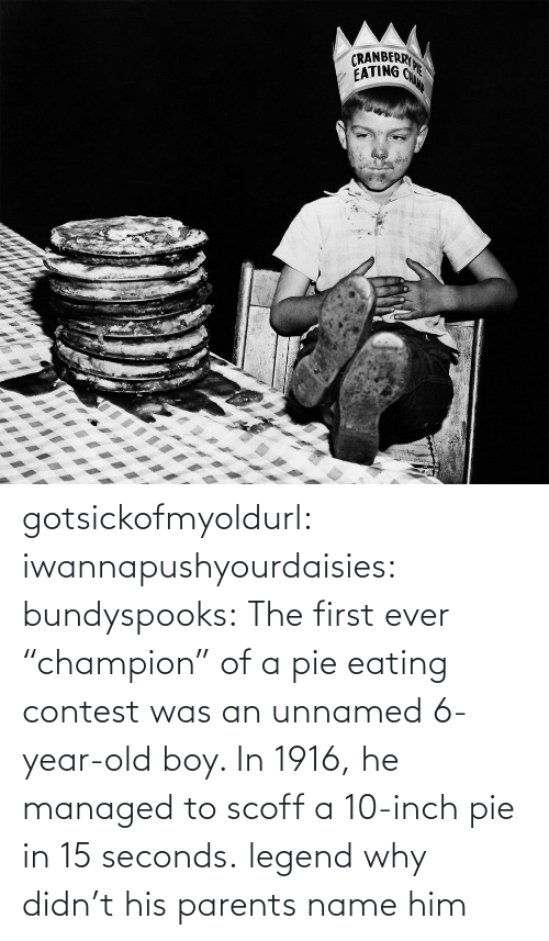"champion: gotsickofmyoldurl: iwannapushyourdaisies:  bundyspooks:  The first ever ""champion"" of a pie eating contest was an unnamed 6-year-old boy. In 1916, he managed to scoff a 10-inch pie in 15 seconds.  legend  why didn't his parents name him"