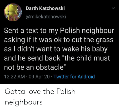 neighbours: Gotta love the Polish neighbours