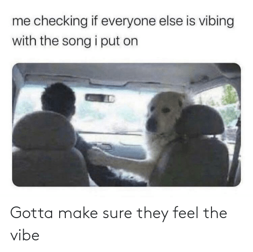 sure: Gotta make sure they feel the vibe