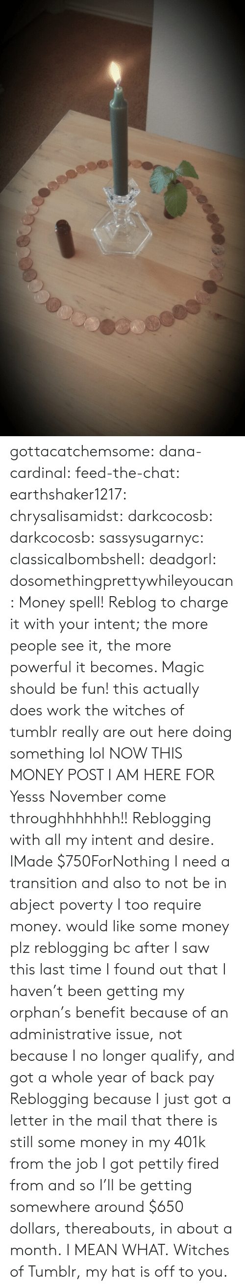 benefit: gottacatchemsome: dana-cardinal:  feed-the-chat:  earthshaker1217:  chrysalisamidst:  darkcocosb:  darkcocosb:  sassysugarnyc:  classicalbombshell:  deadgorl:  dosomethingprettywhileyoucan:  Money spell! Reblog to charge it with your intent; the more people see it, the more powerful it becomes. Magic should be fun!  this actually does work the witches of tumblr really are out here doing something lol  NOW THIS MONEY POST I AM HERE FOR  Yesss November come throughhhhhhh!!  Reblogging with all my intent and desire.  IMade $750ForNothing  I need a transition and also to not be in abject poverty  I too require money.  would like some money plz  reblogging bc after I saw this last time I found out that I haven't been getting my orphan's benefit because of an administrative issue, not because I no longer qualify, and got a whole year of back pay  Reblogging because I just got a letter in the mail that there is still some money in my 401k from the job I got pettily fired from and so I'll be getting somewhere around $650 dollars, thereabouts, in about a month. I MEAN WHAT. Witches of Tumblr, my hat is off to you.