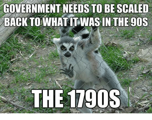 Memes, Government, and Back: GOVERNMENT NEEDS TO BE SCALED  BACK TO WHATIT WASINTHE9OS  THE 1790S  quickmeme.com
