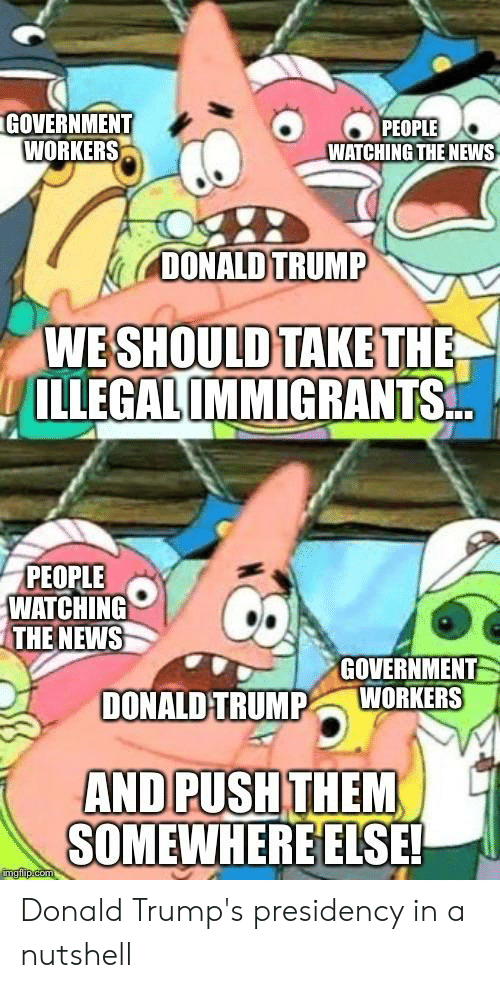 Donald Trump, News, and SpongeBob: GOVERNMENT  WORKERS  PEOPLE  WATCHING THE NEWS  DONALD TRUMP  WESHOULD TAKETH  ILLEGALIMMİGRANTS  PEOPLE  WATCHING  THE NEWS  GOVERNMENT  DONALD TRUMPWORKERS  SOMEWHERE ELSE! Donald Trump's presidency in a nutshell
