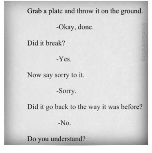 Sorry, Break, and Okay: Grab a plate and throw it on the ground.  -Okay, done.  Did it break?  -Yes.  Now say sorry to it.  -Sorry  Did it go back to the way it was before?  No.  Do you understand?