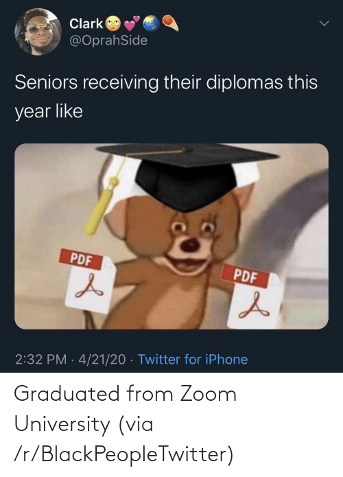 university: Graduated from Zoom University (via /r/BlackPeopleTwitter)