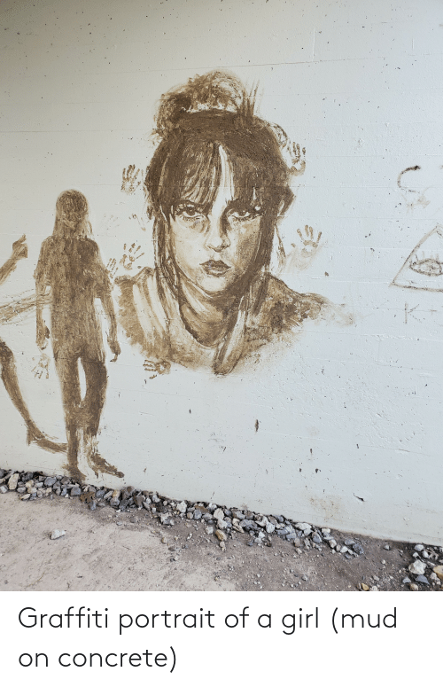 concrete: Graffiti portrait of a girl (mud on concrete)