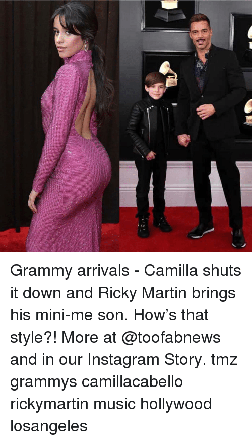Grammys: Grammy arrivals - Camilla shuts it down and Ricky Martin brings his mini-me son. How's that style?! More at @toofabnews and in our Instagram Story. tmz grammys camillacabello rickymartin music hollywood losangeles