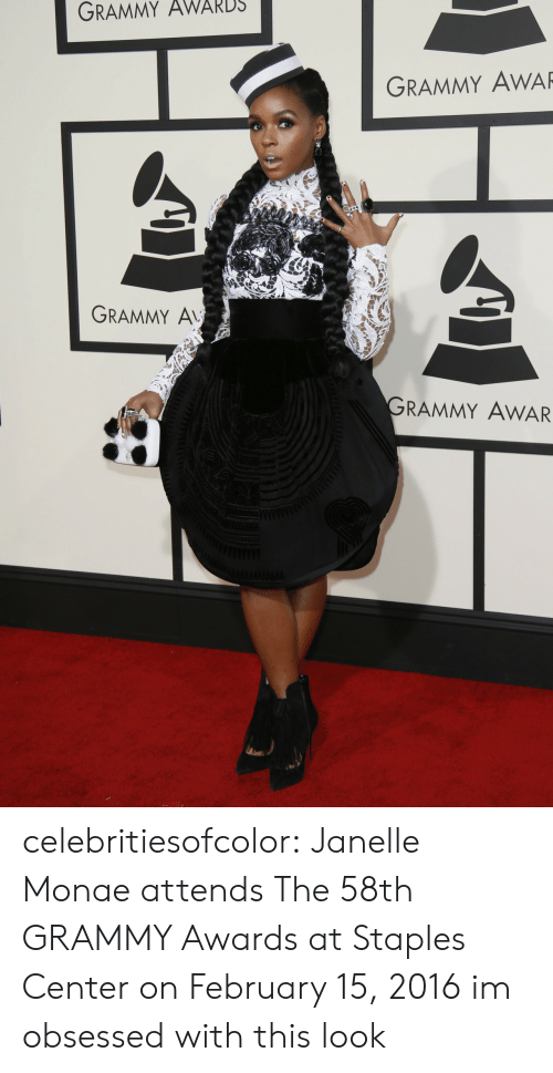 Staples Center: GRAMMY  AWARDS  GRAMMY AWAR  GRAMMY A  RAMMY AWAR celebritiesofcolor:  Janelle Monae attends The 58th GRAMMY Awards at Staples Center on February 15, 2016   im obsessed with this look