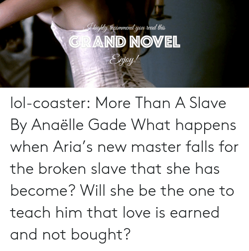 Lol, Love, and Tumblr: GRAND NOVEL lol-coaster:    More Than A Slave By Anaëlle Gade   What happens when Aria's new master falls for the broken slave that she has become? Will she be the one to teach him that love is earned and not bought?