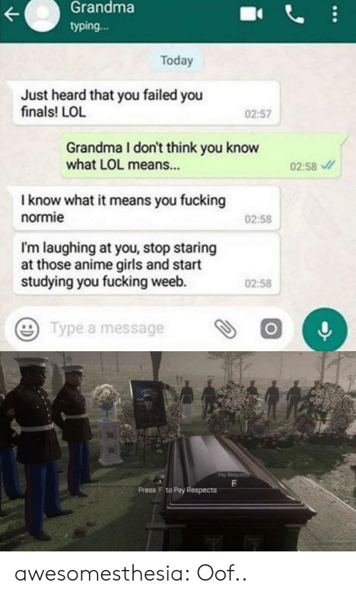 typing: Grandma  typing...  Today  Just heard that you failed you  finals! LOL  02:57  Grandma I don't think you know  what LOL means...  02:58  I know what it means you fucking  normie  02:58  I'm laughing at you, stop staring  at those anime girls and start  studying you fucking weeb.  02:58  Type a message  Pay Respec  Press F to Pay Respects awesomesthesia:  Oof..