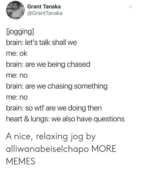 Jog: Grant Tanaka  @GrantTanaka  jogging]  brain: let's talk shall we  me: ok  brain: are we being chased  me: no  brain: are we chasing something  me: no  brain: so wtf are we doing then  heart & lungs: we also have questions A nice, relaxing jog by alliwanabeiselchapo MORE MEMES