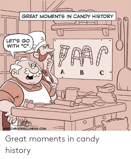 "Candy: GREAT MOMENTS IN CANDY HISTORY  LET'S GO  WITH ""C"".  B  SKETCHBOOKSILLINESS.COM Great moments in candy history"