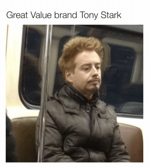 Dank, 🤖, and Brand: Great Value brand Tony Stark