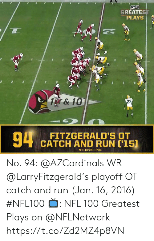 Memes, Nfl, and Run: GREATEST  PLAYS  1&10  23  94  FITZGERALD'S OT  CATCH AND RUN 15)  NFC DIVISIONAL No. 94: @AZCardinals WR @LarryFitzgerald's playoff OT catch and run (Jan. 16, 2016) #NFL100  ?: NFL 100 Greatest Plays on @NFLNetwork https://t.co/Zd2MZ4p8VN