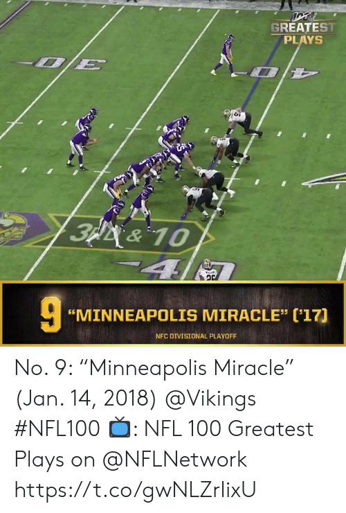 "Memes, Nfl, and Minneapolis: GREATEST  PLAYS  3p&10  4  ""MINNEAPOLIS MIRACLE"" ('17]  NFC DIVISIONAL PLAYOFF No. 9: ""Minneapolis Miracle"" (Jan. 14, 2018) @Vikings #NFL100  📺: NFL 100 Greatest Plays on @NFLNetwork https://t.co/gwNLZrIixU"