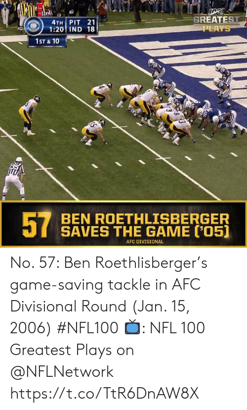 Ben Roethlisberger: GREATEST  PLAYS  4TH PIT 21  1:20 IND 18  1ST & 10  57  BEN ROETHLISBERGER  SAVES THE GAME [05)  AFC DIVISIONAL No. 57: Ben Roethlisberger's game-saving tackle in AFC Divisional Round (Jan. 15, 2006) #NFL100  ?: NFL 100 Greatest Plays on @NFLNetwork https://t.co/TtR6DnAW8X