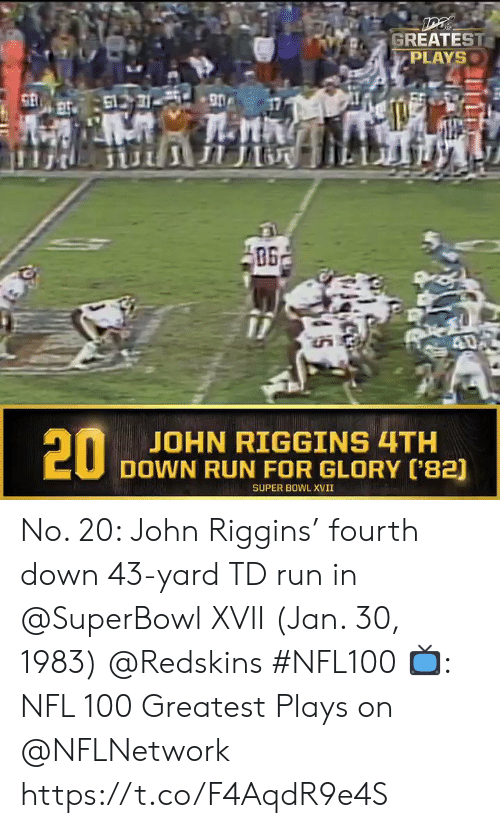 Memes, Nfl, and Washington Redskins: GREATEST  PLAYS  61731 90  ПЛ  40  20  JOHN RIGGINS 4TH  DOWN RUN FOR GLORY ('82)  SUPER BOWL XVII No. 20: John Riggins' fourth down 43-yard TD run in @SuperBowl XVII (Jan. 30, 1983) @Redskins #NFL100  📺: NFL 100 Greatest Plays on @NFLNetwork https://t.co/F4AqdR9e4S