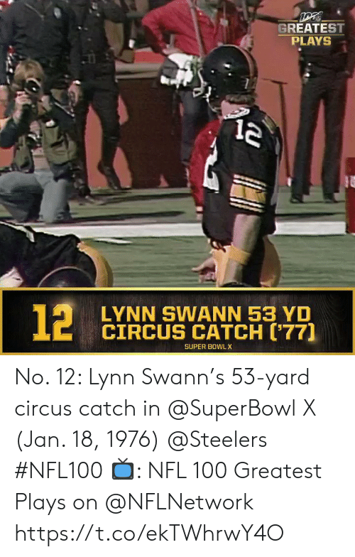 Superbowl: GREATEST  PLAYS  LYNN SWANN 53 YD  CIRCUS CATCH ('77]  SUPER BOWL X  12 No. 12: Lynn Swann's 53-yard circus catch in @SuperBowl X (Jan. 18, 1976) @Steelers #NFL100  📺: NFL 100 Greatest Plays on @NFLNetwork https://t.co/ekTWhrwY4O