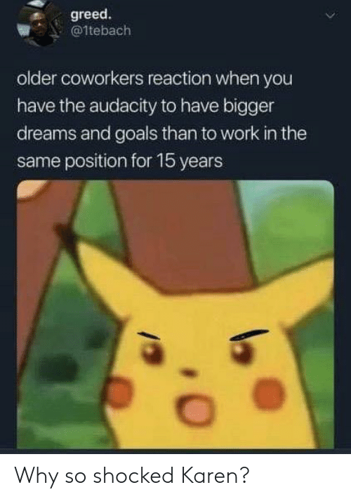 Goals, Work, and Audacity: greed.  @1tebach  older coworkers reaction when you  have the audacity to have bigger  dreams and goals than to work in the  same position for 15 years Why so shocked Karen?
