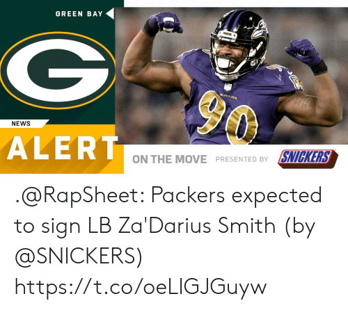 snickers: GREEN BAY  NEWS  ALERT  ON THE MOVE PRESENTED BY SNICKERS .@RapSheet: Packers expected to sign LB Za'Darius Smith (by @SNICKERS) https://t.co/oeLIGJGuyw