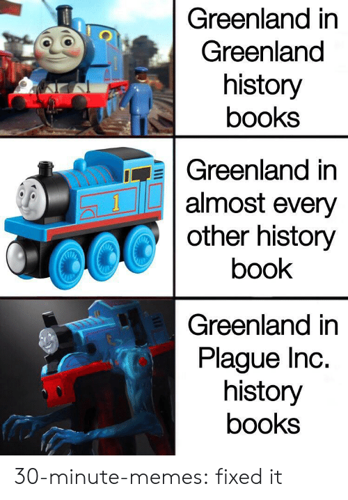 greenland: Greenland in  Greenland  history  books  Greenland in  almost every  other history  1  book  Greenland in  Plague Inc.  history  books  AE 30-minute-memes: fixed it
