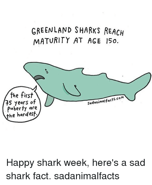 Sharked: GREENLAND SHARKS REACH  MATURITY AT AGE 15o.  the first  e tirs  75 years of  Puberty are  the hardest  Sadanimalfacts.com Happy shark week, here's a sad shark fact. sadanimalfacts