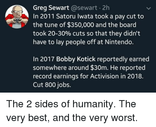 Nintendo, Best, and Jobs: Greg Sewart @sewart 2h  In 2011 Satoru Iwata took a pay cut to  the tune of $350,000 and the board  took 20-30% cuts so that they didn't  have to lay people off at Nintendo.  In 2017 Bobby Kotick reportedly earned  somewhere around $30m. He reported  record earmings for Activision in 2018.  Cut 800 jobs. The 2 sides of humanity. The very best, and the very worst.