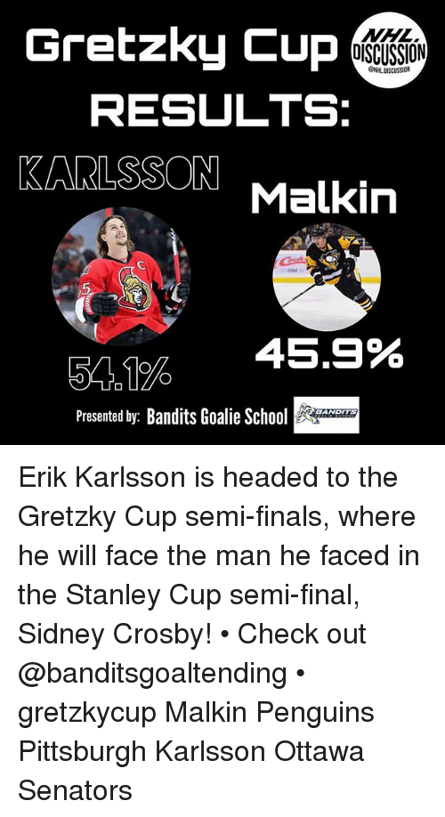 Semy: Gretzky Cup  NHL  DISCUSSION  ONHL DISCUSSION  RESULTS:  KARLSSON Malkin  5  54。1%  45.9%  Presented by: Bandits Goalie So  BANDITS Erik Karlsson is headed to the Gretzky Cup semi-finals, where he will face the man he faced in the Stanley Cup semi-final, Sidney Crosby! • Check out @banditsgoaltending • gretzkycup Malkin Penguins Pittsburgh Karlsson Ottawa Senators