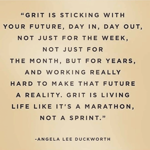 "Ally: ""GRIT IS STICKING WITH  YOUR FUTURE, DAY IN, DAY OUT,  NOT JUST FOR THE WEEK,  NOT JUST FOR  THE MONTH, BUT FOR YEARS,  AND WORKING RE ALLY  HARD TO MAKE THAT FUTURE  A REALITY. GRIT IS LIVING  LIFE LIKE IT'S A MARATHON,  NOT A SPRINT.""  -ANGELA LEE DUCKWORTH"