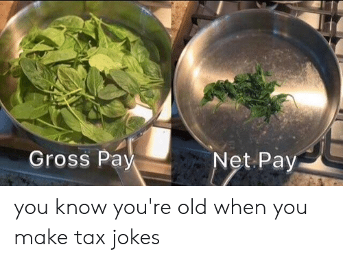 Dank, Jokes, and Old: Gross Pay you know you're old when you make tax jokes