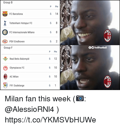 Ac Milan: Group B  P Pts  FC Barcelona  6 14  Tottenham Hotspur FC  FC Internazionale Milano  IH  189  PSV Eindhoven  Group F  OO TrollFootball  P Pts  ч  Real Betis Balompié  6 12  Olympiacos FC  6 10  AC Milan  6 10  l F91 Dudelange  899 Milan fan this week (📷: @AlessioRNl4 ) https://t.co/YKMSVbHUWe