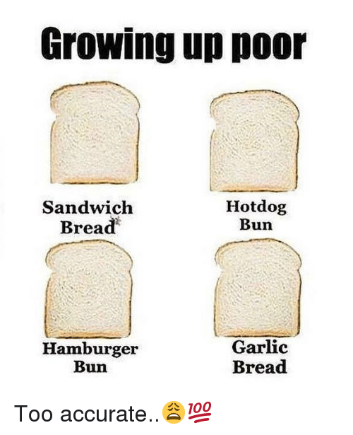 hotdog: Growing up poor  Sandwich  Bread  Hotdog  Bun  Hamburger  Bun  Garlic  Bread Too accurate..😩💯