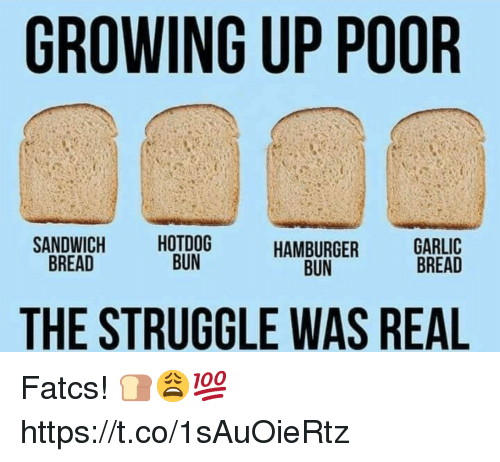 hotdog: GROWING UP POOR  SANDWICH  BREAD  HOTDOG  BUN  HAMBURGER  BUN  GARLIC  AD  THE STRUGGLE WAS REAL Fatcs! 🍞😩💯 https://t.co/1sAuOieRtz