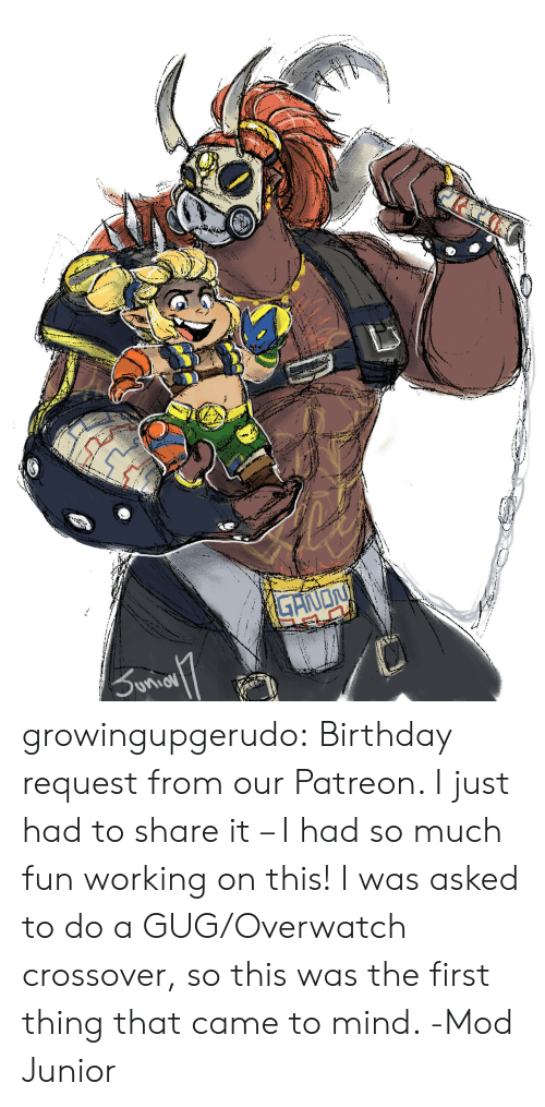 mod: growingupgerudo:  Birthday request from our Patreon. I just had to share it – I had so much fun working on this! I was asked to do a GUG/Overwatch crossover, so this was the first thing that came to mind. -Mod Junior