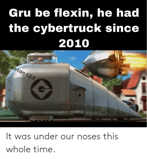 Gru, Time, and Flexin: Gru be flexin, he had  the cybertruck since  2010  alceetan123 It was under our noses this whole time.