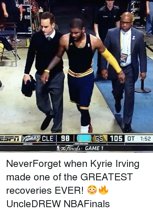 Kyrie Irving, Memes, and 🤖: GS 105  OT 1:52 NeverForget when Kyrie Irving made one of the GREATEST recoveries EVER! 😳🔥 UncleDREW NBAFinals