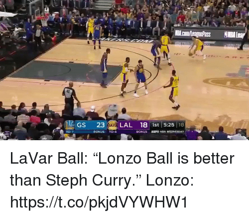 "Sports, Steph Curry, and Curry: Gs 23 LAL 18 ist 5:25 he  LAZ  BONUS TO: LaVar Ball: ""Lonzo Ball is better than Steph Curry.""  Lonzo: https://t.co/pkjdVYWHW1"