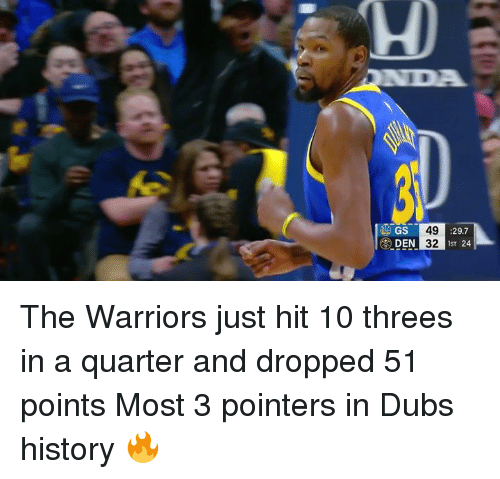 Threes: GS  49  32  :29.7  1ST 24 The Warriors just hit 10 threes in a quarter and dropped 51 points  Most 3 pointers in Dubs history 🔥