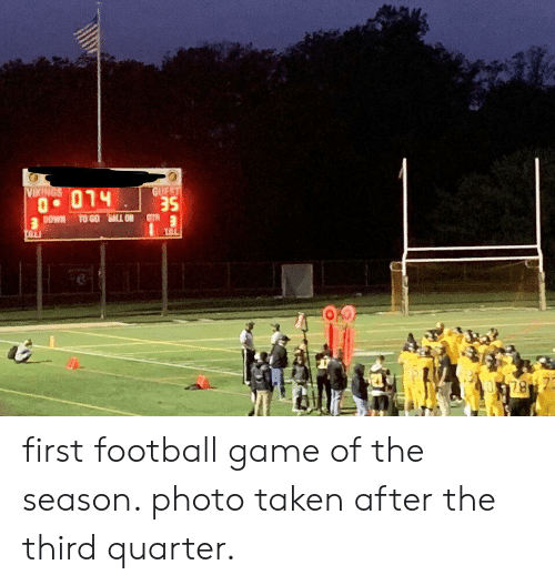 Football, Lol, and Taken: GUEST  VIKINGS  DOWN TO GO BALL ON  LOL  TOLI  78 7 first football game of the season. photo taken after the third quarter.