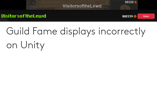 fame: Guild Fame displays incorrectly on Unity