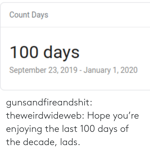 youre: gunsandfireandshit: theweirdwideweb:  Hope you're enjoying the last 100 days of the decade, lads.