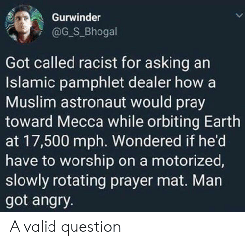 Muslim, Earth, and Racist: Gurwinder  @G_S_Bhogal  Got called racist for asking an  Islamic pamphlet dealer how a  Muslim astronaut would pray  toward Mecca while orbiting Earth  at 17,500 mph. Wondered if he'd  have to worship on a motorized,  slowly rotating prayer mat. Man  got angry. A valid question