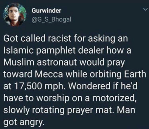 Asking: Gurwinder  @G_S_Bhogal  Got called racist for asking an  Islamic pamphlet dealer how a  Muslim astronaut would pray  toward Mecca while orbiting Earth  at 17,500 mph. Wondered if he'd  have to worship on a motorized,  slowly rotating prayer mat. Man  got angry.